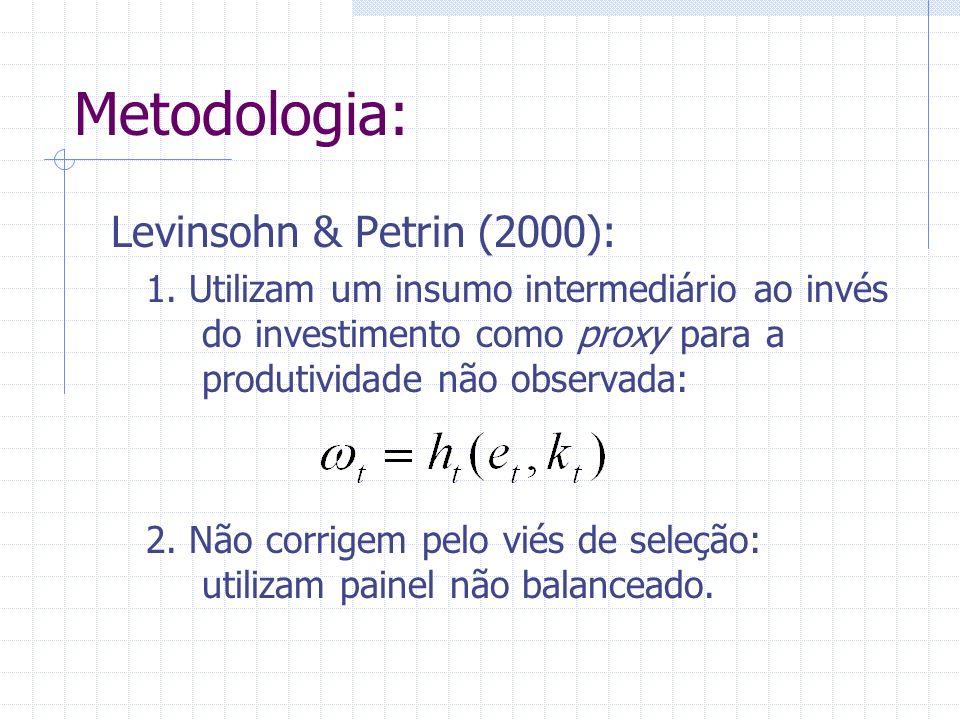 Metodologia: Levinsohn & Petrin (2000): 1. Utilizam um insumo intermediário ao invés do investimento como proxy para a produtividade não observada: 2.