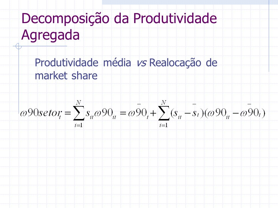 Decomposição da Produtividade Agregada Produtividade média vs Realocação de market share