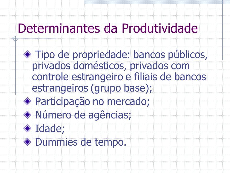 Determinantes da Produtividade Tipo de propriedade: bancos públicos, privados domésticos, privados com controle estrangeiro e filiais de bancos estran