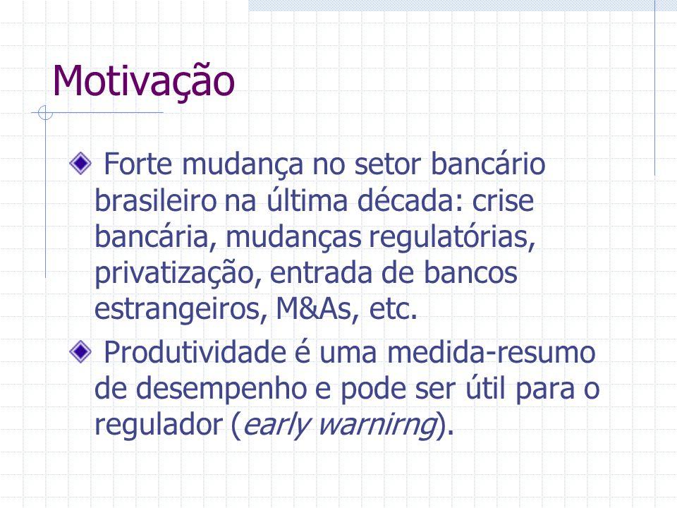 Motivação Forte mudança no setor bancário brasileiro na última década: crise bancária, mudanças regulatórias, privatização, entrada de bancos estrange