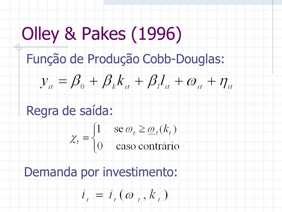 Olley & Pakes (1996) Algoritmo em 3 etapas: ETAPA 1 Inversão da função investimento: Estimação do coeficiente do insumo variável na função parcialmente linear: