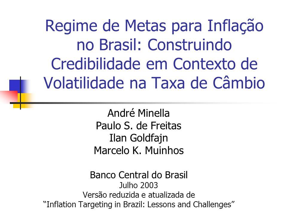 Regime de Metas para Inflação no Brasil: Construindo Credibilidade em Contexto de Volatilidade na Taxa de Câmbio André Minella Paulo S. de Freitas Ila