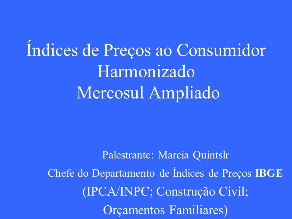 Índices de Preços ao Consumidor Harmonizado Mercosul Ampliado Palestrante: Marcia Quintslr Chefe do Departamento de Índices de Preços IBGE (IPCA/INPC;