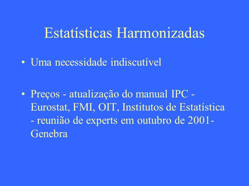 Estatísticas Harmonizadas Uma necessidade indiscutível Preços - atualização do manual IPC - Eurostat, FMI, OIT, Institutos de Estatística - reunião de