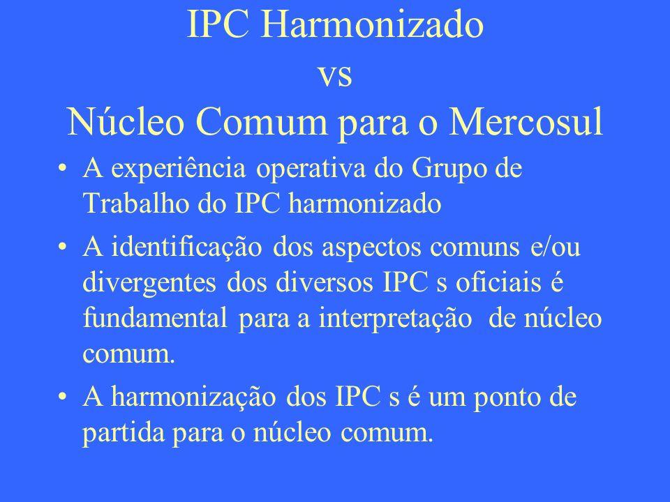 IPC Harmonizado vs Núcleo Comum para o Mercosul A experiência operativa do Grupo de Trabalho do IPC harmonizado A identificação dos aspectos comuns e/