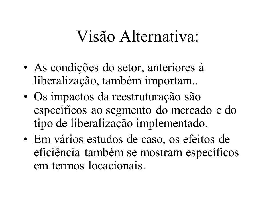 Visão Alternativa: As condições do setor, anteriores à liberalização, também importam..