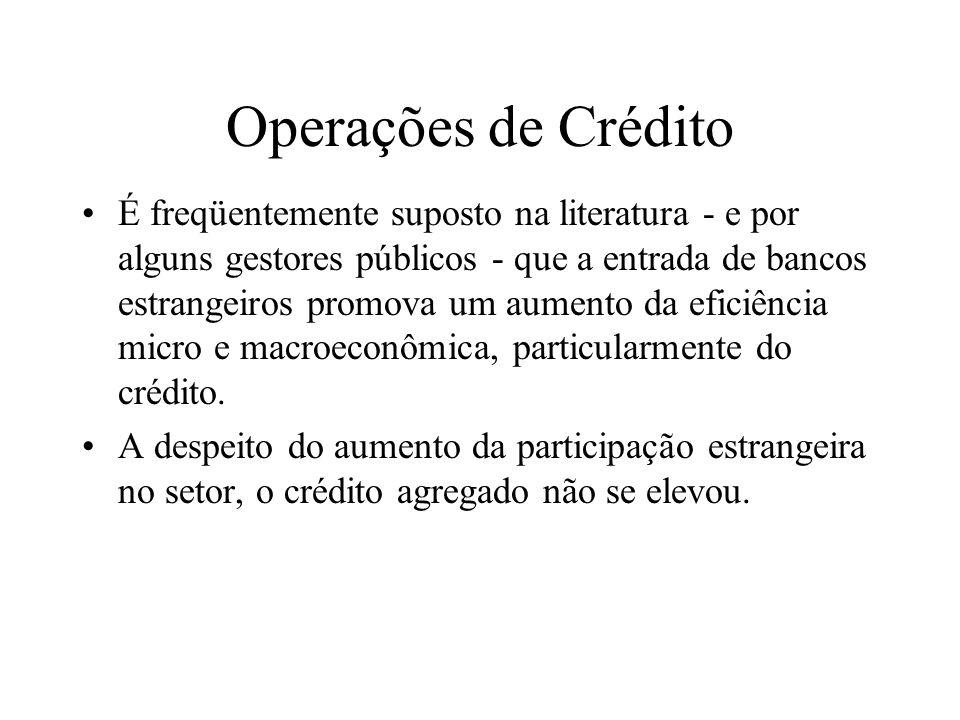 Operações de Crédito É freqüentemente suposto na literatura - e por alguns gestores públicos - que a entrada de bancos estrangeiros promova um aumento da eficiência micro e macroeconômica, particularmente do crédito.