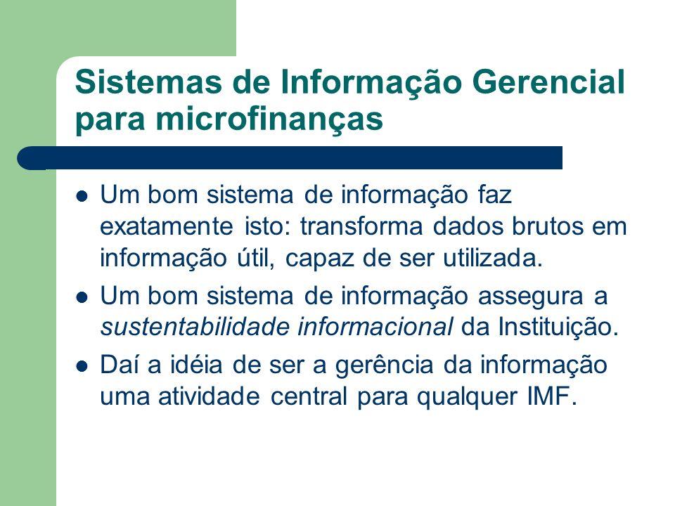 Onde buscar mais informações Programa de Desenvolvimento Institucional do BNDES - http://www.bndes.gov.br/produtos/social/bndesbid.asp http://www.bndes.gov.br/produtos/social/bndesbid.asp – Catálogo de Sistemas de Informação Gerencial – Manual de Sistemas de Informação para Microfinanças CGAP Consultative Group to Assist de Poorest - http://www.cgap.org/html/p_technical_guides.html http://www.cgap.org/html/p_technical_guides.html – Management Information Systems for Microfinance Institutions: A Handbook
