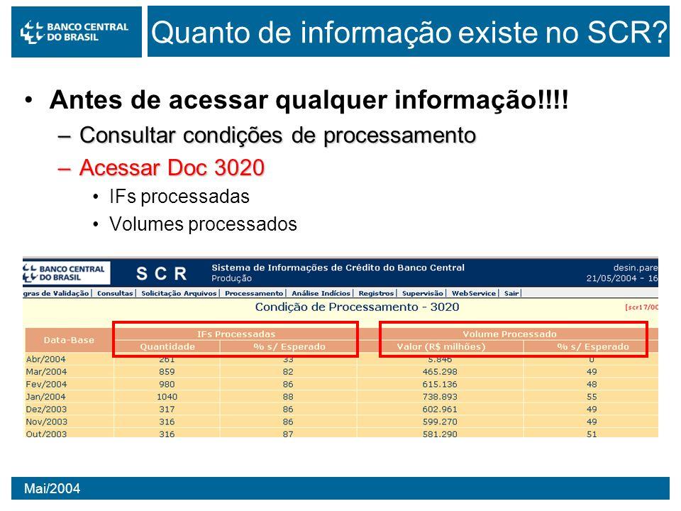 Mai/2004 Quanto de informação existe no SCR? Antes de acessar qualquer informação!!!! –Consultar condições de processamento –Acessar Doc 3020 IFs proc