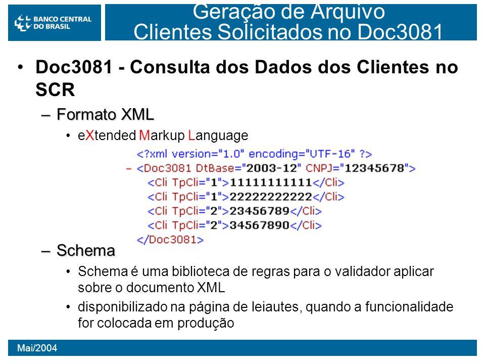 Mai/2004 Geração de Arquivo Clientes Solicitados no Doc3081 Doc3081 - Consulta dos Dados dos Clientes no SCR –Formato XML eXtended Markup Language –Sc