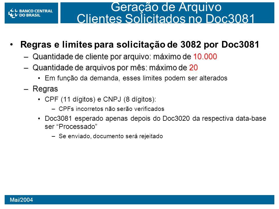 Mai/2004 Geração de Arquivo Clientes Solicitados no Doc3081 Regras e limites para solicitação de 3082 por Doc3081 –Quantidade de cliente por arquivo: