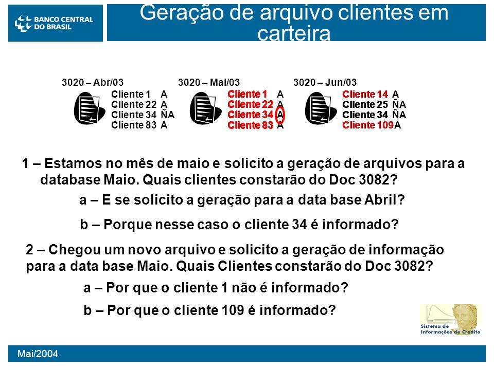 Mai/2004 Geração de arquivo clientes em carteira 3020 – Abr/03 Cliente 1A Cliente 22A Cliente 34ÑA Cliente 83A 3020 – Mai/03 Cliente 1A Cliente 22A Cl