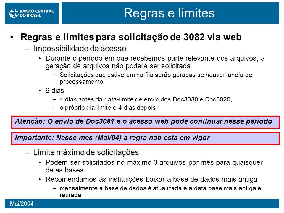 Mai/2004 Regras e limites Regras e limites para solicitação de 3082 via web –Impossibilidade de acesso: Durante o período em que recebemos parte relev