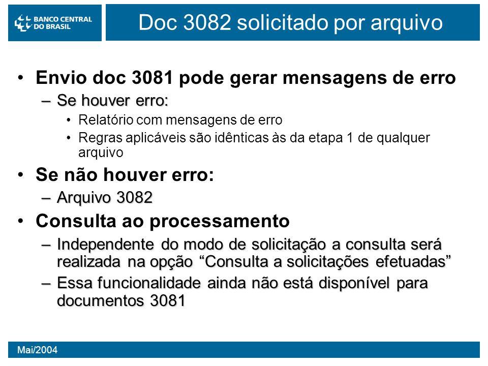 Mai/2004 Envio doc 3081 pode gerar mensagens de erro –Se houver erro: Relatório com mensagens de erro Regras aplicáveis são idênticas às da etapa 1 de