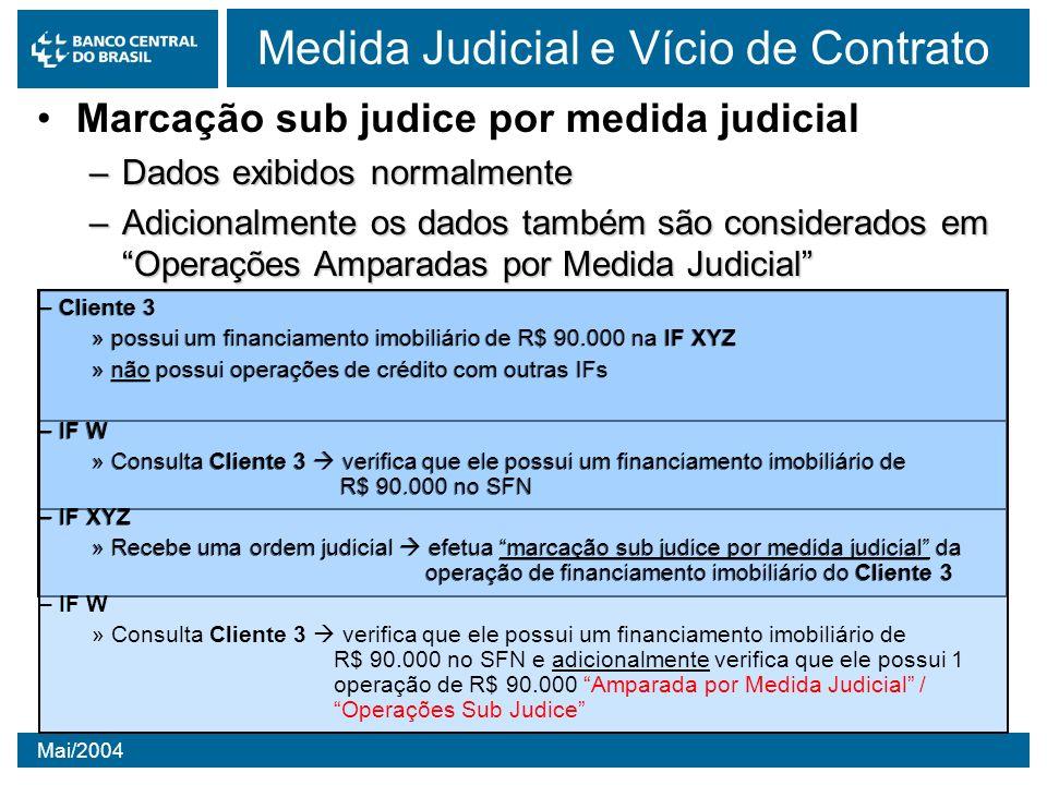 Mai/2004 Medida Judicial e Vício de Contrato Marcação sub judice por medida judicial –Dados exibidos normalmente –Adicionalmente os dados também são c
