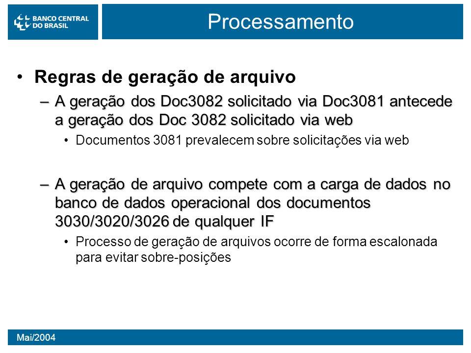 Mai/2004 Processamento Regras de geração de arquivo –A geração dos Doc3082 solicitado via Doc3081 antecede a geração dos Doc 3082 solicitado via web D