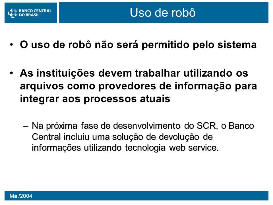 Mai/2004 Uso de robô O uso de robô não será permitido pelo sistema As instituições devem trabalhar utilizando os arquivos como provedores de informaçã