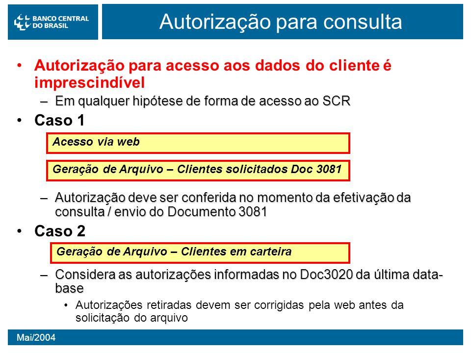 Mai/2004 Autorização para consulta Autorização para acesso aos dados do cliente é imprescindível –Em qualquer hipótese de forma de acesso ao SCR Caso