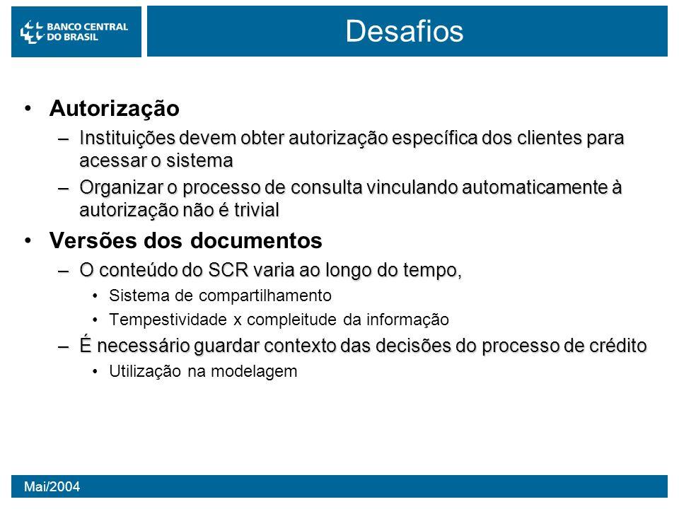 Mai/2004 Desafios Autorização –Instituições devem obter autorização específica dos clientes para acessar o sistema –Organizar o processo de consulta v