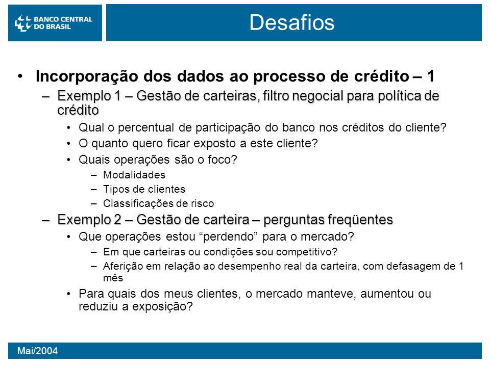 Mai/2004 Desafios Incorporação dos dados ao processo de crédito – 1 –Exemplo 1 – Gestão de carteiras, filtro negocial para política de crédito Qual o