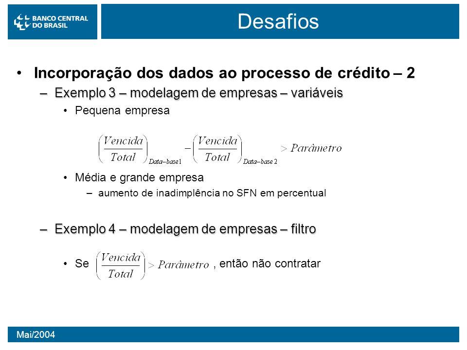 Mai/2004 Desafios Incorporação dos dados ao processo de crédito – 2 –Exemplo 3 – modelagem de empresas – variáveis Pequena empresa Média e grande empr