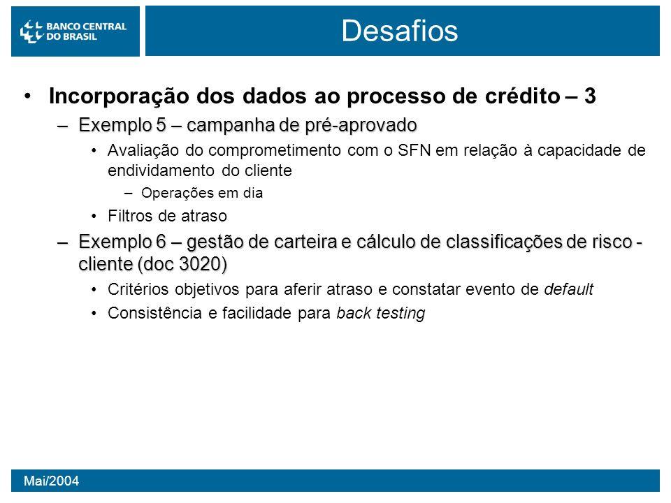 Mai/2004 Desafios Incorporação dos dados ao processo de crédito – 3 –Exemplo 5 – campanha de pré-aprovado Avaliação do comprometimento com o SFN em re