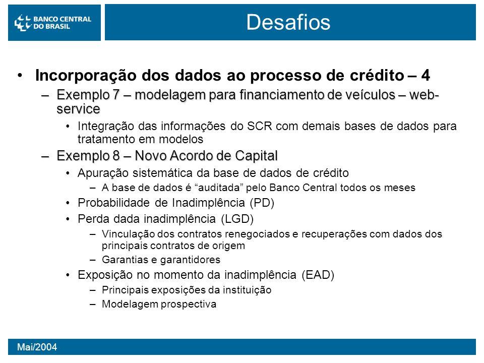 Mai/2004 Desafios Incorporação dos dados ao processo de crédito – 4 –Exemplo 7 – modelagem para financiamento de veículos – web- service Integração da