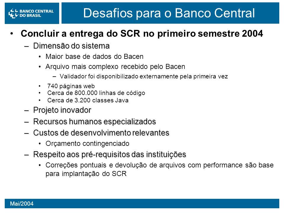 Mai/2004 Desafios para o Banco Central Concluir a entrega do SCR no primeiro semestre 2004 –Dimensão do sistema Maior base de dados do Bacen Arquivo m