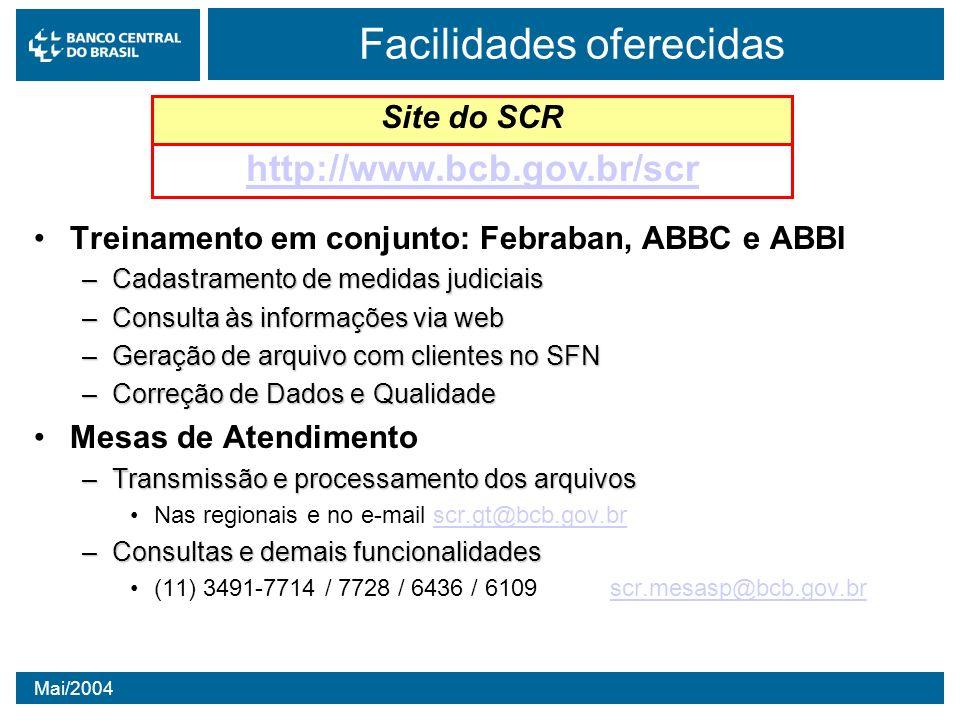 Mai/2004 Facilidades oferecidas Treinamento em conjunto: Febraban, ABBC e ABBI –Cadastramento de medidas judiciais –Consulta às informações via web –G