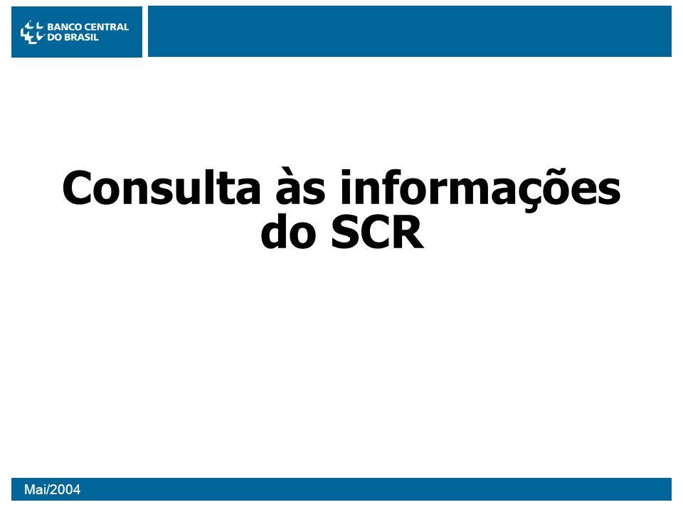Mai/2004 Consulta às informações do SCR