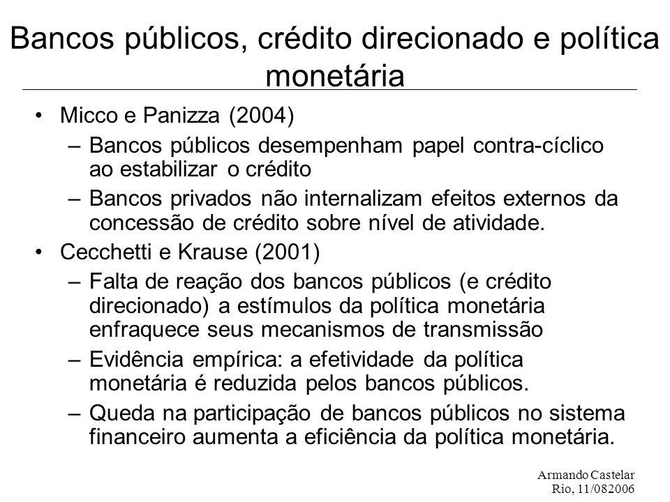 Armando Castelar Rio, 11/082006 Bancos públicos, crédito direcionado e política monetária Micco e Panizza (2004) –Bancos públicos desempenham papel contra-cíclico ao estabilizar o crédito –Bancos privados não internalizam efeitos externos da concessão de crédito sobre nível de atividade.