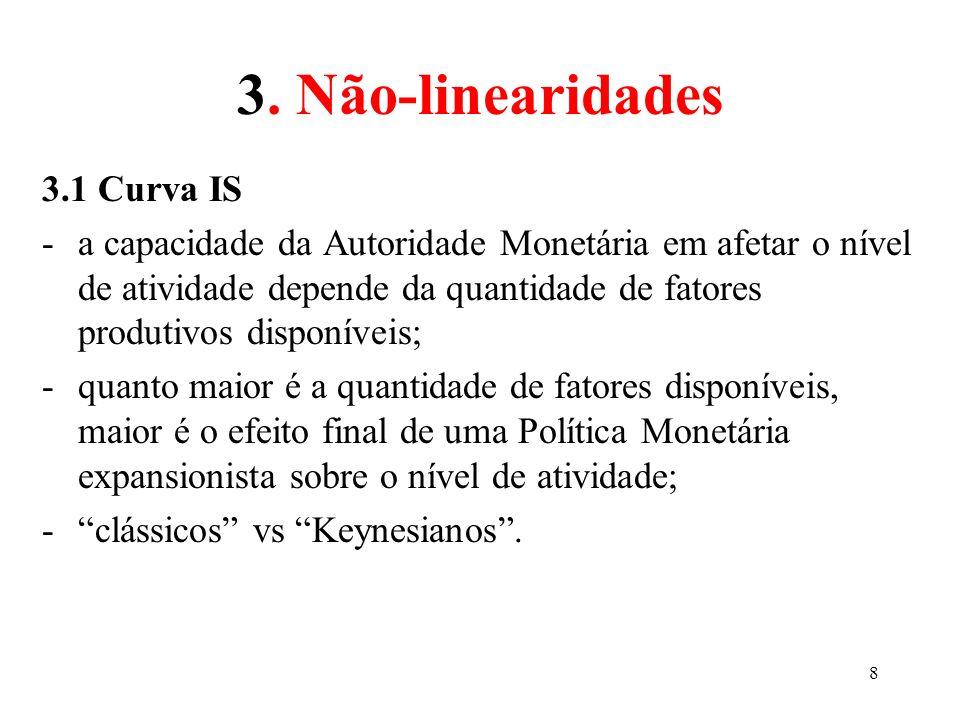 8 3. Não-linearidades 3.1 Curva IS -a capacidade da Autoridade Monetária em afetar o nível de atividade depende da quantidade de fatores produtivos di