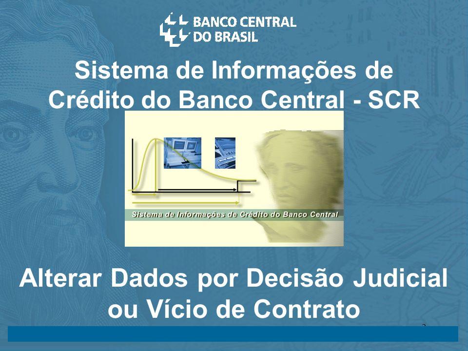 14/05/2003 24/07/20032 Sistema de Informações de Crédito do Banco Central - SCR Alterar Dados por Decisão Judicial ou Vício de Contrato