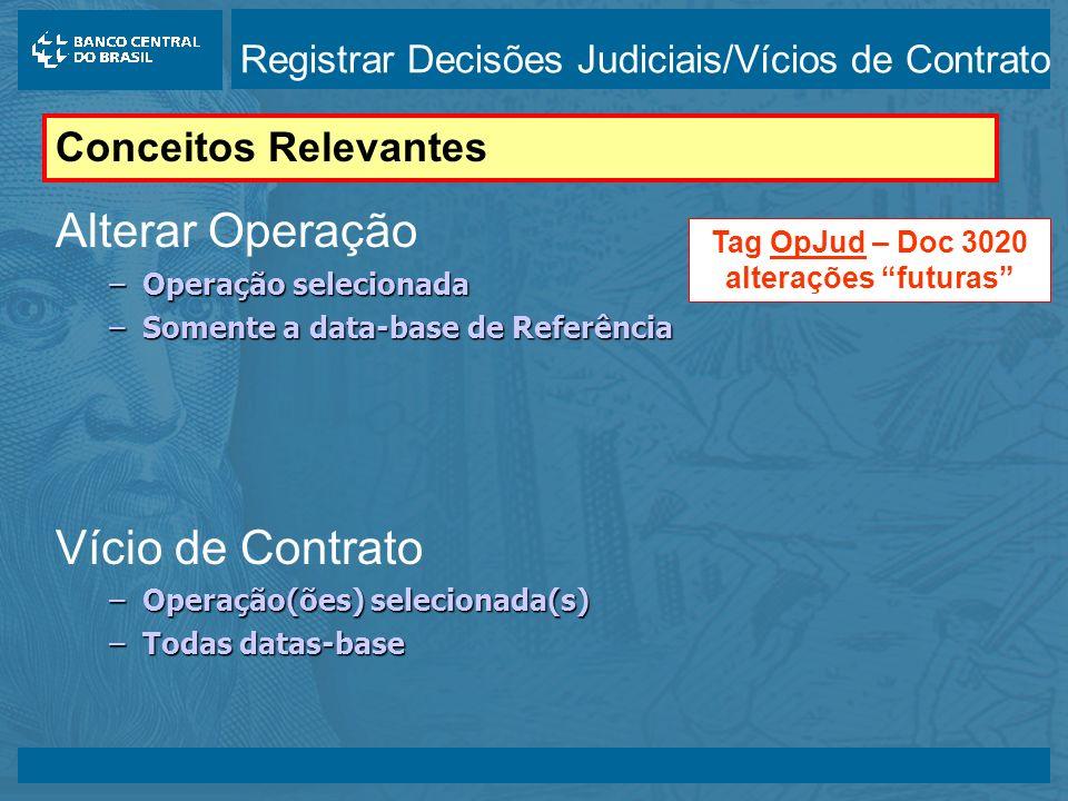 14/05/2003 Alterar Operação –Operação selecionada –Somente a data-base de Referência Vício de Contrato –Operação(ões) selecionada(s) –Todas datas-base Conceitos Relevantes Tag OpJud – Doc 3020 alterações futuras Registrar Decisões Judiciais/Vícios de Contrato