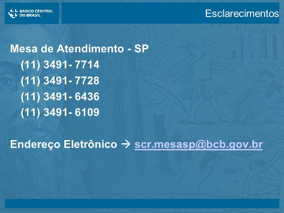 14/05/2003 Mesa de Atendimento - SP (11) 3491- 7714 (11) 3491- 7728 (11) 3491- 6436 (11) 3491- 6109 Endereço Eletrônico scr.mesasp@bcb.gov.brscr.mesasp@bcb.gov.br Esclarecimentos