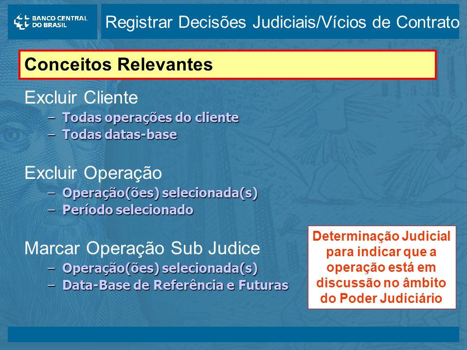 14/05/2003 Excluir Cliente –Todas operações do cliente –Todas datas-base Excluir Operação –Operação(ões) selecionada(s) –Período selecionado Marcar Operação Sub Judice –Operação(ões) selecionada(s) –Data-Base de Referência e Futuras Conceitos Relevantes Determinação Judicial para indicar que a operação está em discussão no âmbito do Poder Judiciário Registrar Decisões Judiciais/Vícios de Contrato
