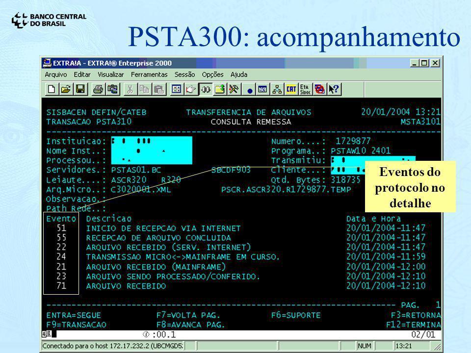 21/01/200416 PSTA300: acompanhamento Eventos do protocolo no detalhe