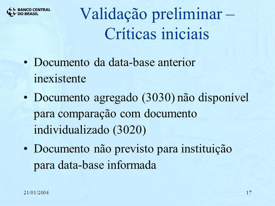 21/01/200417 Validação preliminar – Críticas iniciais Documento da data-base anterior inexistente Documento agregado (3030) não disponível para compar