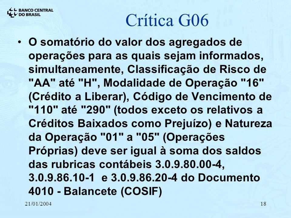 21/01/200418 Crítica G06 O somatório do valor dos agregados de operações para as quais sejam informados, simultaneamente, Classificação de Risco de