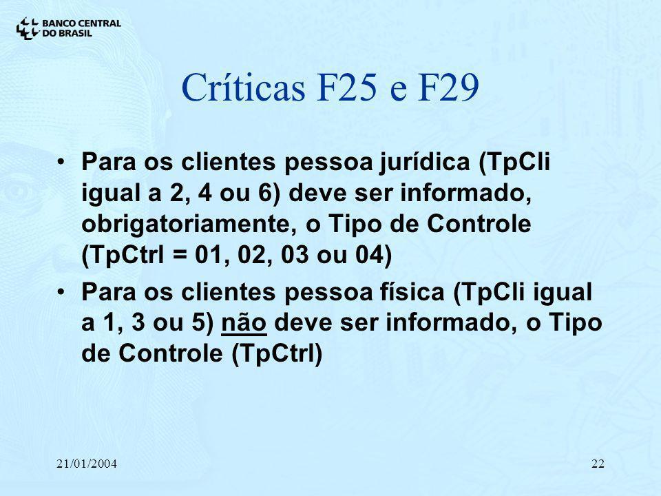 21/01/200422 Críticas F25 e F29 Para os clientes pessoa jurídica (TpCli igual a 2, 4 ou 6) deve ser informado, obrigatoriamente, o Tipo de Controle (T