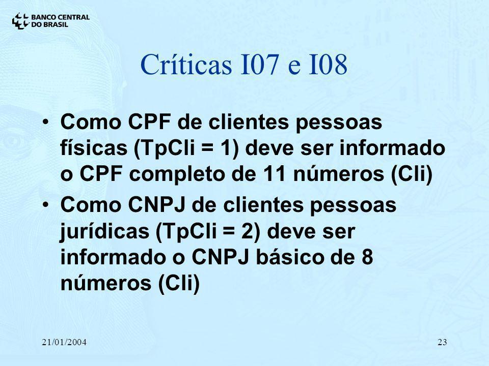 21/01/200423 Críticas I07 e I08 Como CPF de clientes pessoas físicas (TpCli = 1) deve ser informado o CPF completo de 11 números (Cli) Como CNPJ de cl