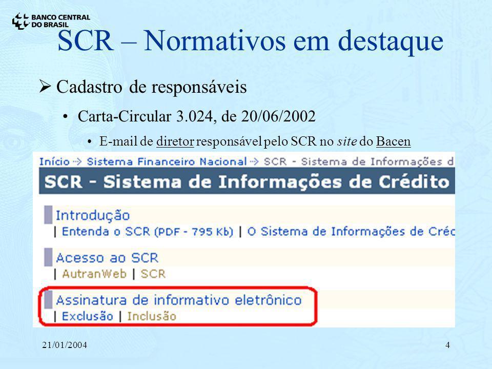 21/01/20044 SCR – Normativos em destaque Cadastro de responsáveis Carta-Circular 3.024, de 20/06/2002 E-mail de diretor responsável pelo SCR no site d