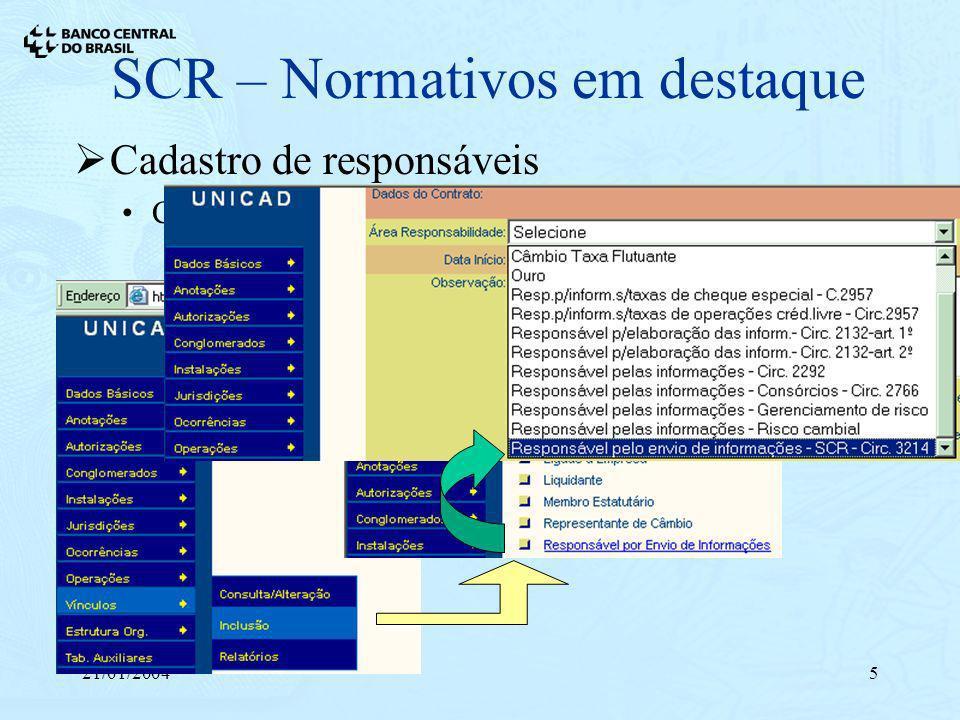 21/01/20045 SCR – Normativos em destaque Cadastro de responsáveis Circular 3.214, de 11/12/2003 Registro de responsável técnico no Unicad