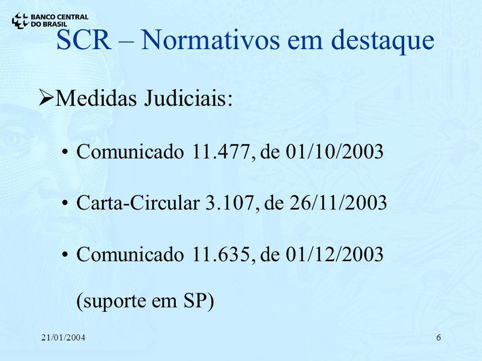 21/01/20046 SCR – Normativos em destaque Medidas Judiciais: Comunicado 11.477, de 01/10/2003 Carta-Circular 3.107, de 26/11/2003 Comunicado 11.635, de