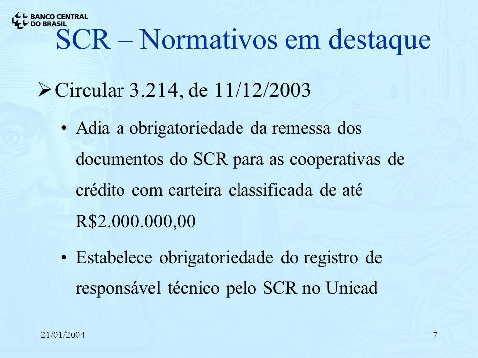 21/01/20047 SCR – Normativos em destaque Circular 3.214, de 11/12/2003 Adia a obrigatoriedade da remessa dos documentos do SCR para as cooperativas de