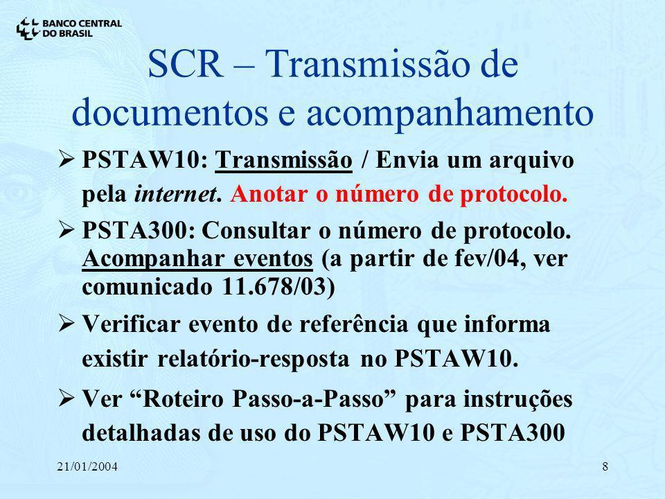 21/01/20048 SCR – Transmissão de documentos e acompanhamento PSTAW10: Transmissão / Envia um arquivo pela internet. Anotar o número de protocolo. PSTA