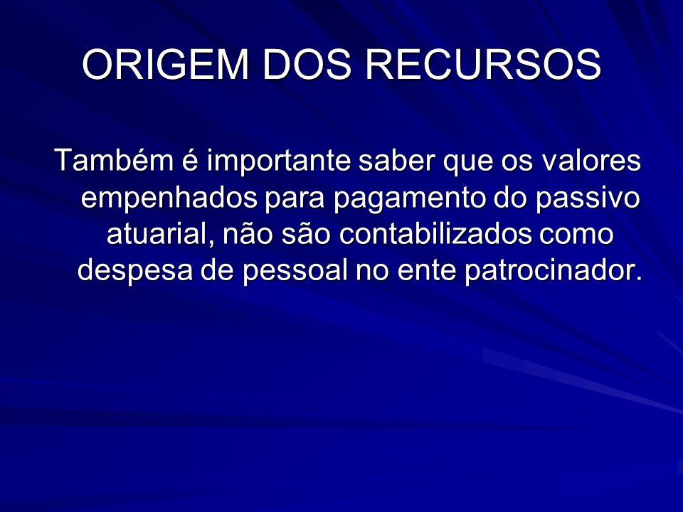 ORIGEM DOS RECURSOS Também é importante saber que os valores empenhados para pagamento do passivo atuarial, não são contabilizados como despesa de pes