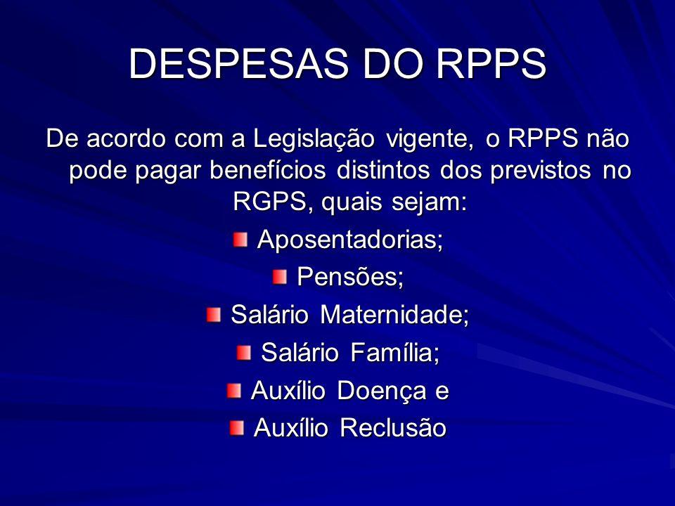 DESPESAS DO RPPS De acordo com a Legislação vigente, o RPPS não pode pagar benefícios distintos dos previstos no RGPS, quais sejam: Aposentadorias;Pen