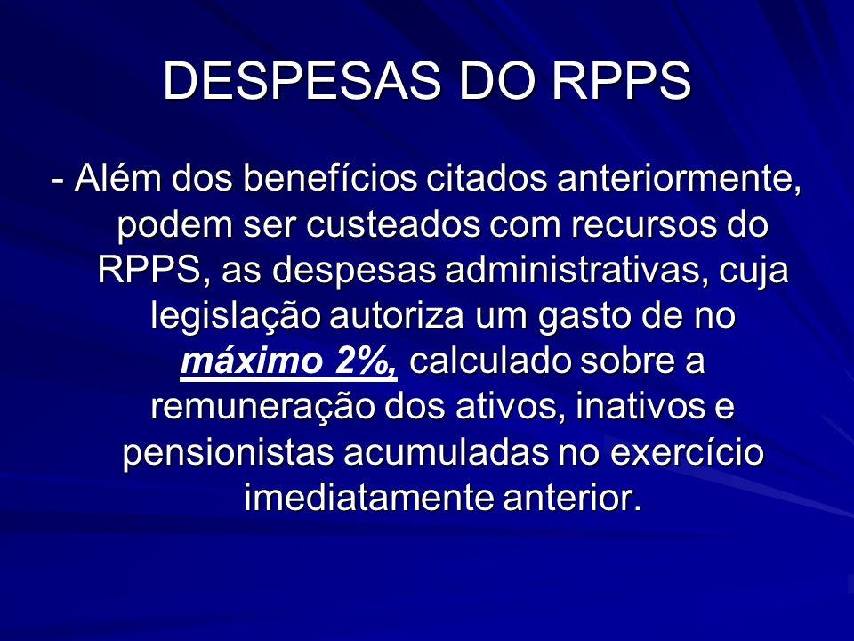 DESPESAS DO RPPS - Além dos benefícios citados anteriormente, podem ser custeados com recursos do RPPS, as despesas administrativas, cuja legislação a