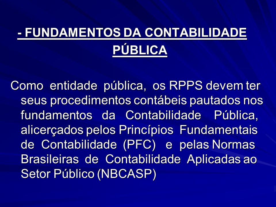 - FUNDAMENTOS DA CONTABILIDADE - FUNDAMENTOS DA CONTABILIDADE PÚBLICA PÚBLICA Como entidade pública, os RPPS devem ter seus procedimentos contábeis pa